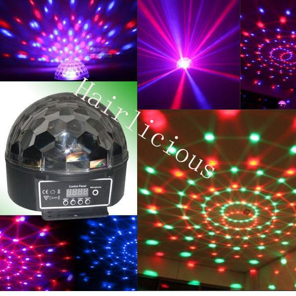 EU/US Led 6*3W Channel DMX512 Control Digital LED RGB Magic Crystal Ball Effect Light DMX Disco DJ Stage Lighting Free Shipping(China (Mainland))