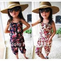 Free shipping the new children's wear girls rural broken beautiful condole belt jumpsuits jumpsuits