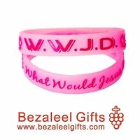 20 pcs Pink Christian Relligious silicone bracelet wristband Jesus Silicon Power Wristband - Adult size - Bezaleel Gifts