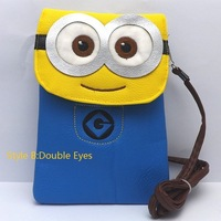 Free shipping by EMS 10pcs/lot Despicable Me bag pack Super Cute minion PU leather Covered small satchel Phone package For Gift