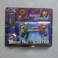1pcs/lot Cartoon Super Mario Watch with purse wallets