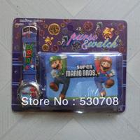 1pcs/lot Cartoon Super Mario Watch with purse wallets