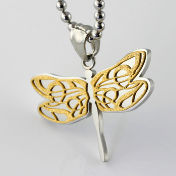 Christmas Gift! New Jewelry 39*29mm 8.5g 316L Stainless Steel Silver 18K Gold Plated Dragonfly Pendant Necklace , One Free Chain