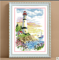 Counted Cross Stitch  Best Quality---Luxurious---Light Tower Over Sea-Hot Sell Free shipping