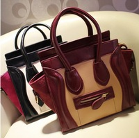 2013 New arrival black and white smiley handbag women's shoulder bag tote