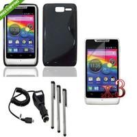 DR6 Black TPU Case Cover+Charger+LCD+Pen For Motorola RAZR D1