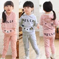 Free ahipping 2013 autumn and winter bear girls clothing child casual fleece set tz-0475