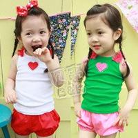 Free ahipping 2013 summer princess girls clothing baby child vest shorts set tz-0392