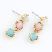 Fashion elegant sweet ol all-match - eye personalized Color pearl Gold plated stud earring