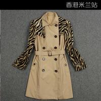 2013 autumn and winter fashion t leopard print outerwear patchwork double breasted slim long sleeve length trench female