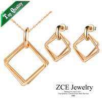 Korean style Top Quality Square fashion jewelry set Platinum plated Necklace earring for women Free shipping