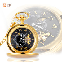 Gold fashion quality double open pocket watch mechanical cutout tourbillon male watch