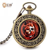 Leondi exquisite pocket watch carved necklace hyun black quartz pocket watch