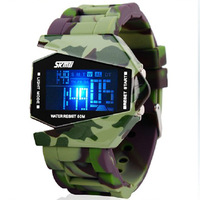 Camouflage waterproof led electronic watches male women's lovers jelly vintage table