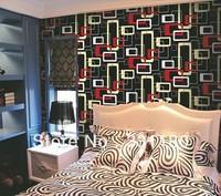10M Modern waterproof  design geometric pattern grid waterproof PVC wallpaper Vinyl  wall paper for roll,free shipping