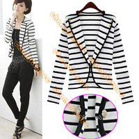 Drop Shipping New Fashion Korean Ladies Women's White Stripes Cardigan One Button OL Suit Outerwear Jacket blazer 5725