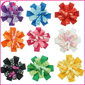 "30 pieces/lot 4"" flower printed hair bow korker hair bow with clips layers hair clips for baby  CNHB-1309179"