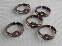 Nickel Free,DIYJewelry Findings-8mm Antique Copper Ring Base Blank