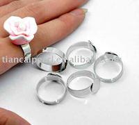 DIYJewelry base 12x19mm silver plated Semi-Precious Gemstone Ring Setting