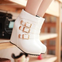 Martin boots female short boots 2013 autumn and winter high-heeled boots buckle casual wedges boots