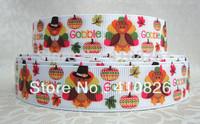 "WM ribbon 7/8inch 22mm 917007 Halloween ""Turkey"" Printed grosgrain ribbon 50yds/roll free shipping"