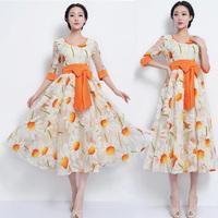 Free Shipping 2013 New Fashion Women's Dresses Hot-selling White Orange Red Half Sleeve Slim Waist Dreeses With Belt