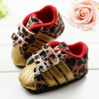 Cute Baby Girl Infant Toddler Leopard Gold Crib Shoes Walking Sneaker Size 11, 12, 13