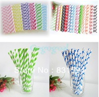 25PCS Polka Dot / Stripe Paper Drinking Straws Wedding Party Birthday Decoration