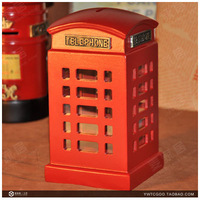 Reminisced fashion vintage telephone booth piggy bank model piggy bank home decoration log Small