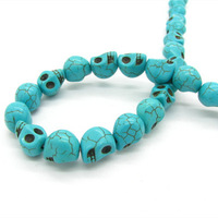 12*10mm 105pcs Wholesale Fashion Synthetic Turquoise Skull Shape Stone Loose Beads for DIY Elegant Jewelry Free Shipping HC090