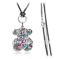 1PCS Infinity Bear Heart Sharp Necklace Pendant Sparkling Austria Crystal For Lover HB8014