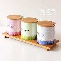 Rustic lace candy color spice jar fresh lid ceramic condiment bottles box kitchen three piece set