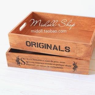 Zakka vintage solid wood ridel nostalgic decoration storage pallet storage box storage glove box(China (Mainland))
