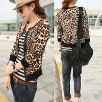 2013 autumn women's personalized street knitted patchwork leopard print long-sleeve all-match outerwear sweatshirt