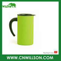 Free Shipping 280ml green mug double wall stainless steel coffee mug