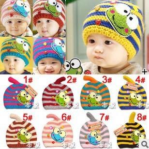 On Sale! Cute Cartoon Frog Baby Earflap Cap Kids Skull Hat Beanies Crochet Children Accessories Winter Hat Free Shipping