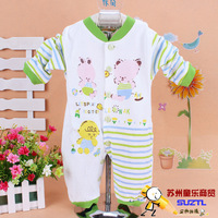 Wholesale - Free shipping - Cotton Cartoon Long-sleeved  Baby Romper Four Colors Two Sizes  (6pieces / lot)