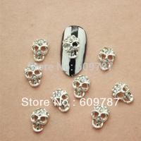 Free shipping 50pcs/bag Silver Alloy 3D Rhinestone Crystal Skull Nail Art Decoration Tips Stickers