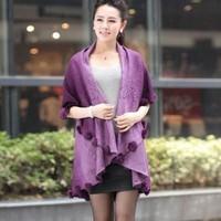 2012 rabbit fur ball cape cloak cardigan outerwear female long design loose autumn and winter women