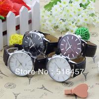 4Pcs/Lot  Big White Round Face Men Boys Quartz Wrist Watch Watches Free Shipping
