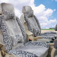 Leopard print car seat cartoon plush winter car seat cushion thickening cotton car mats autumn and winter pulvinis