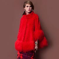 2013 Women's Genuine Rex Rabbit Fur Coat Lamb Fur Hem Patchwork Korean Style Free Shipping VK1211