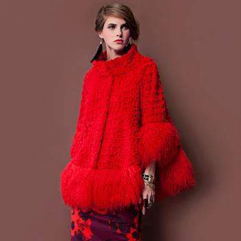 Женщины подлинной мех кролика рекс пальто овчина подол пэчворк корейский зима женщины ...