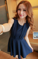 2013 slim sleeveless plus size one-piece dress female summer all-match basic skirt