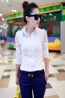 Mushroom 2013 female long-sleeve shirt chiffon shirt long-sleeve top lace patchwork