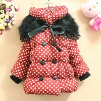 Free Shipping Girls' Lovely Dot Thick Warm Cotton-padded Clothes Children kids Winter Coat,High Quality Brand New,1pcs/lot.731