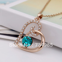 1PCS Infinity Gold Plated Heart  Sharped Rhinestone Jewelry NecklaceS PendantS For Women HB8021