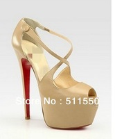14/16CM Women Sumer Peep-toe sandals Platform Pumps High Heels Red Sole X-strap Shoes