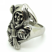 3piece Wholesale New 2013 Men's Skull Rings, Stainless Steel Sons of Anarchy Jax Teller Ring ,Death Grim Reaper Ring Jewelry