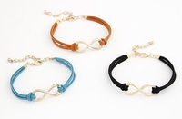 2013  Free shipping  Women's New Arrival Korea Simple Bowknot Metal Chain Bracelet Black/Coffee/Blue/Orange/Red YW13051576